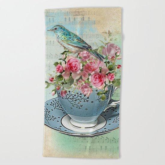 Tea Flowers #5 Beach Towel