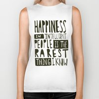 hemingway Biker Tanks featuring Hemingway: Happiness by Leah Flores