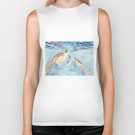 Take A Breath Sea Turtle Biker Tank