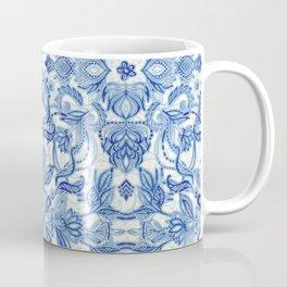 Pattern in Denim Blues on White Coffee Mug