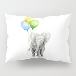 Elephant Watercolor Baby Animal with Balloons Blue Yellow Green Pillow Sham