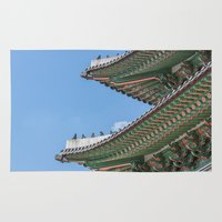 korea Area & Throw Rugs featuring Gyeongbokgung Palace Lines_South Korea by Jennifer Stinson