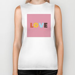 happy LOVE - typography Biker Tank