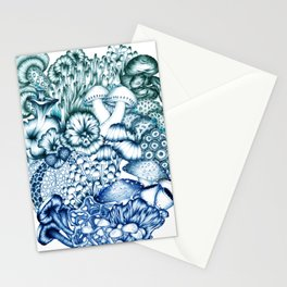 A Medley of Mushrooms in Blue Stationery Cards
