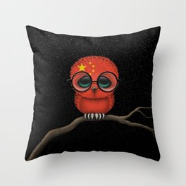 Baby Owl with Glasses and Chinese Flag Throw Pillow