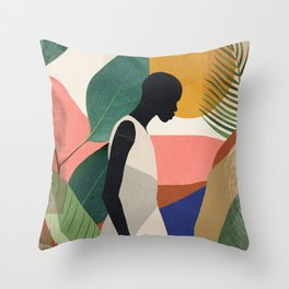 Tropical Girl Throw Pillow