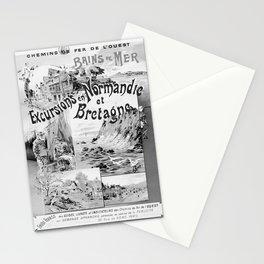 retro monochrome OUEST Normandie et Bretagne retro poster Stationery Cards