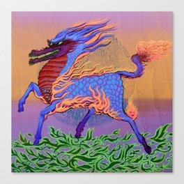 Fire Dragon Horse Canvas Print