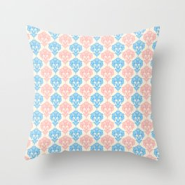Vintage chic ivory coral blue floral damask pattern Throw Pillow
