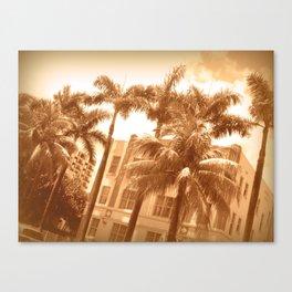 Sepia South Beach Canvas Print