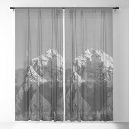 Moon Over Pioneer Peak B&W Sheer Curtain