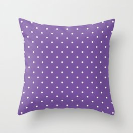 Small White Polka Dots with Purple Background Throw Pillow