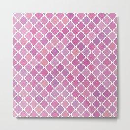 Pink Purple Moroccan Pattern Metal Print