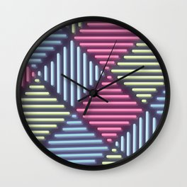 Neon Geometric Pattern Wall Clock