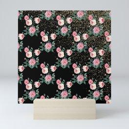 Romantic peony floral and golden confetti design Mini Art Print