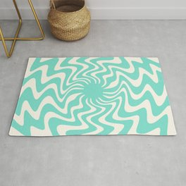 70s Retro Swirl Spiral abstract mint blue and white Rug