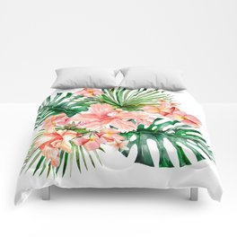 Tropical Jungle Hibiscus Flowers - Floral Comforters