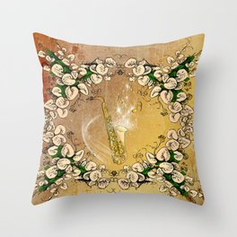 Saxophone with flowers Throw Pillow