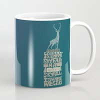 skyfall Mugs featuring Skyfall - James Bond 007 by Rebecca McGoran
