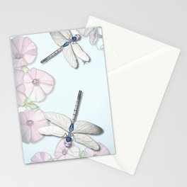 Dragonfly and Morning Glories Stationery Cards