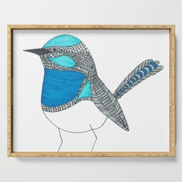Illustrated Blue Wren with Line Art Serving Tray