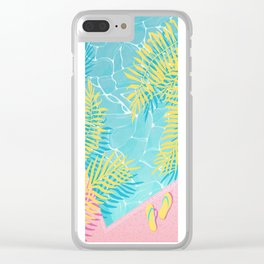 Tropical pool chill Clear iPhone Case