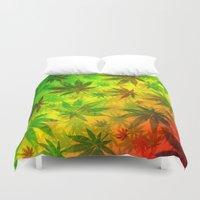 marijuana Duvet Covers featuring Marijuana Leaves Rasta Colors by BluedarkArt