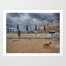 Fun On Brighton Beach Art Print