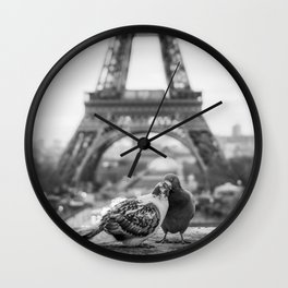 Love Birds (Black and White) Wall Clock