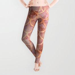 Pink Gold Marble Mermaid Scales Leggings