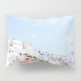Pastel Colored View on Santorini Greece Pillow Sham