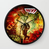 obey Wall Clocks featuring Obey! by Emanpris Artcore