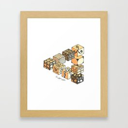 Escher Inspired Impossible Triangle of Zendoodle Cubes Framed Art Print