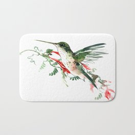 Hummingbird, Flying Hummingbird minimalist art, design watercolor design Bath Mat