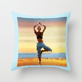 Yoga Pose. Silhouette of a woman on sunset background of blue sky Throw Pillow
