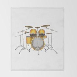 Yellow Drum Kit Throw Blanket