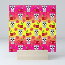 Cute little happy grey little baby Schnauzer puppies, yummy red sweet summer strawberries and funny Kawaii cherries sunny bright yellow and pink  fruity pattern design. Mini Art Print