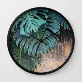 Monstera Print, Tropical Green Beauty Wall Clock