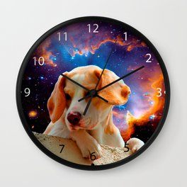 beagle puppy on the wall looking at the universe Wall Clock