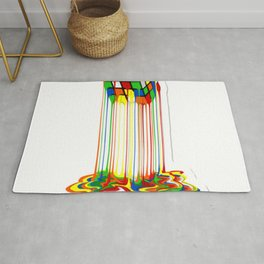 Rainbow Abstraction melted rubiks cube Rug