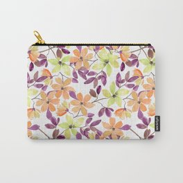 Orange, green and yellow watercolor flowers on white Carry-All Pouch