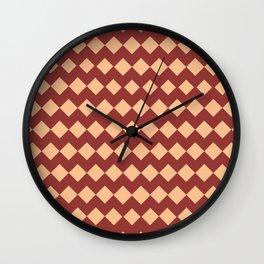 Maroon Peach Moroccan Tile Pattern Wall Clock
