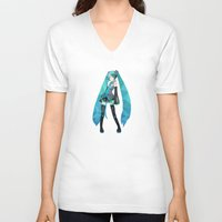 vocaloid V-neck T-shirts featuring Miku by Sally Taylor