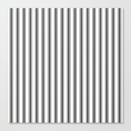 Black and White English Rose Trellis in Mattress Ticking Stripe Canvas Print
