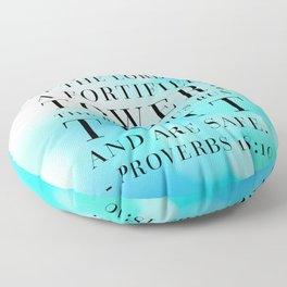 Proverbs 18:10 Bible Quote Floor Pillow