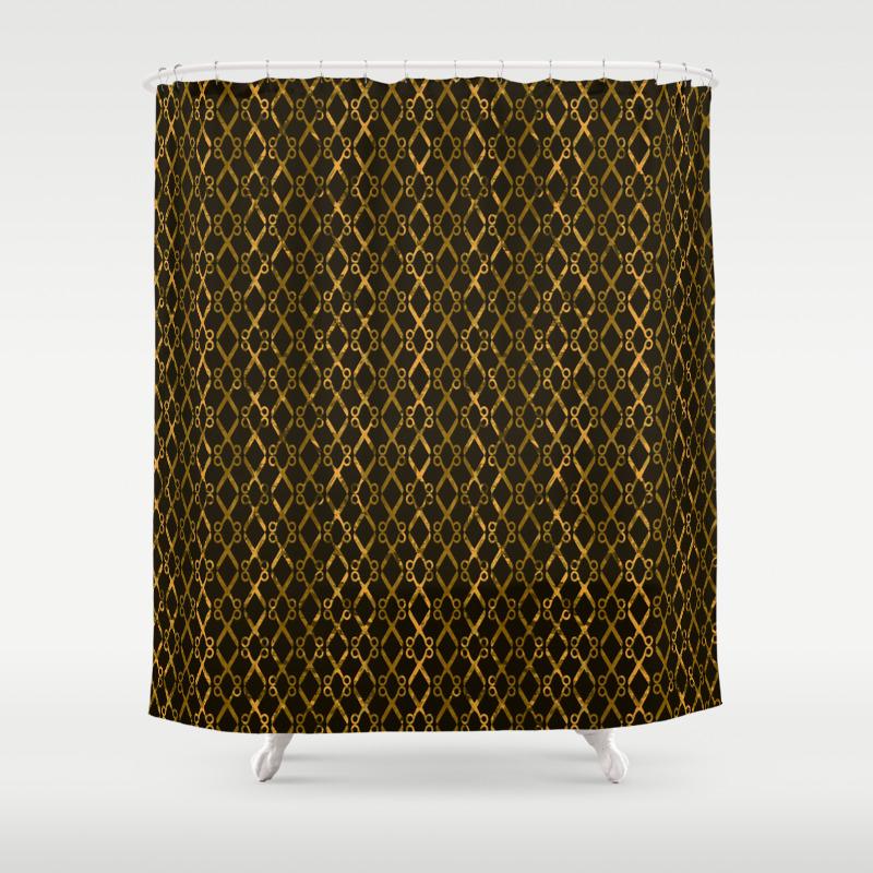 Golden Brown Scissor Stripes Shower Curtain