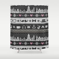 knitting Shower Curtains featuring Hipster Knitting by Sezgen