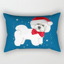 Bichon Frise red christmas holiday themed pattern print pet friendly dog breed gifts Rectangular Pillow