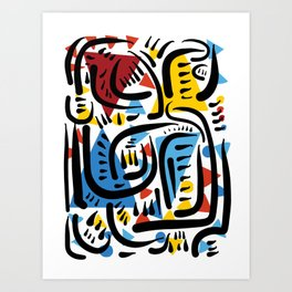 African Abstract Geometric Pattern Art by Emmanuel Signorino© Art Print