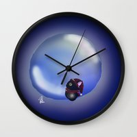 bubble Wall Clocks featuring Bubble by quackso